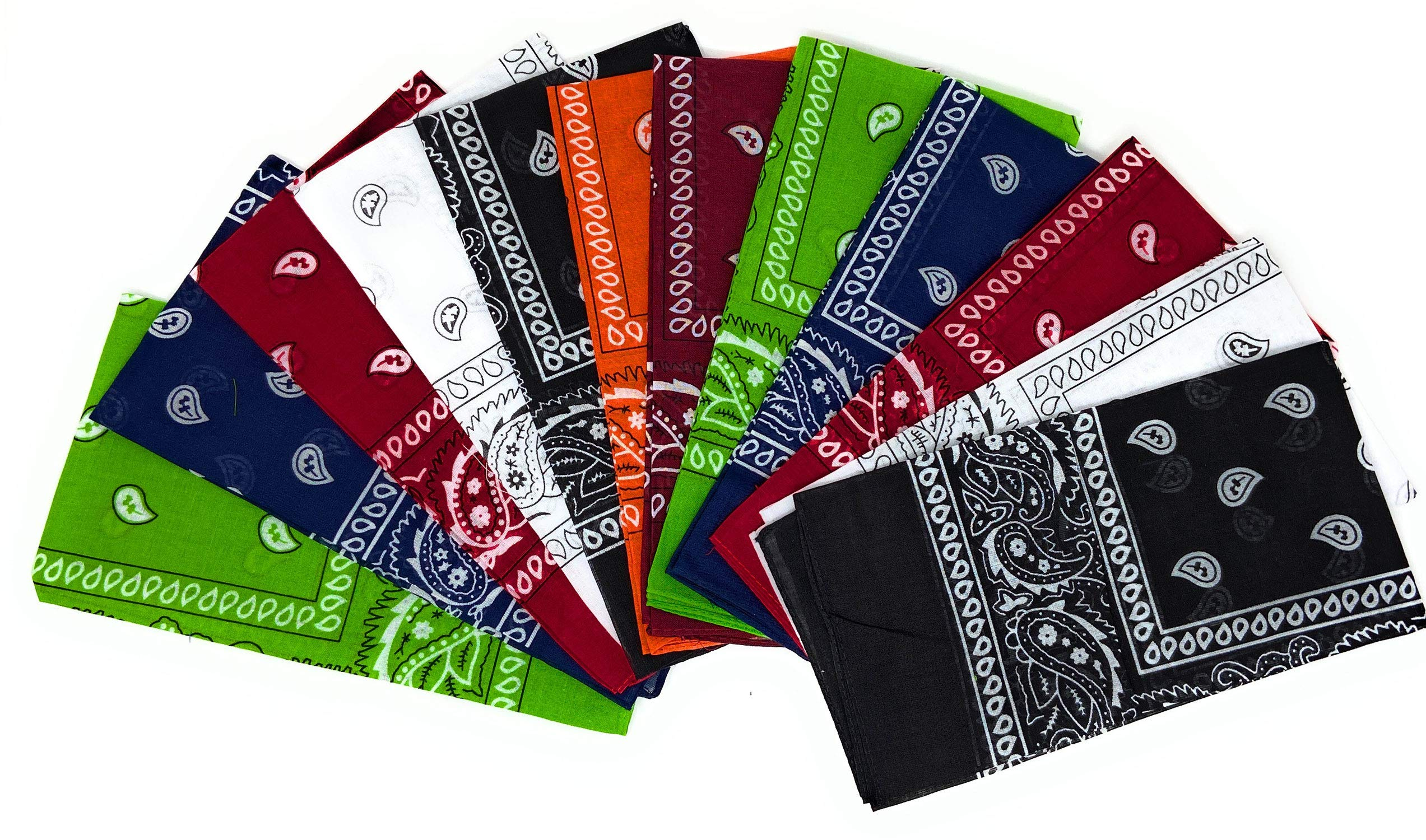 100% Cotton Bandanas For Men - 12 Pack Multi-Use Scarf Headband Headwrap