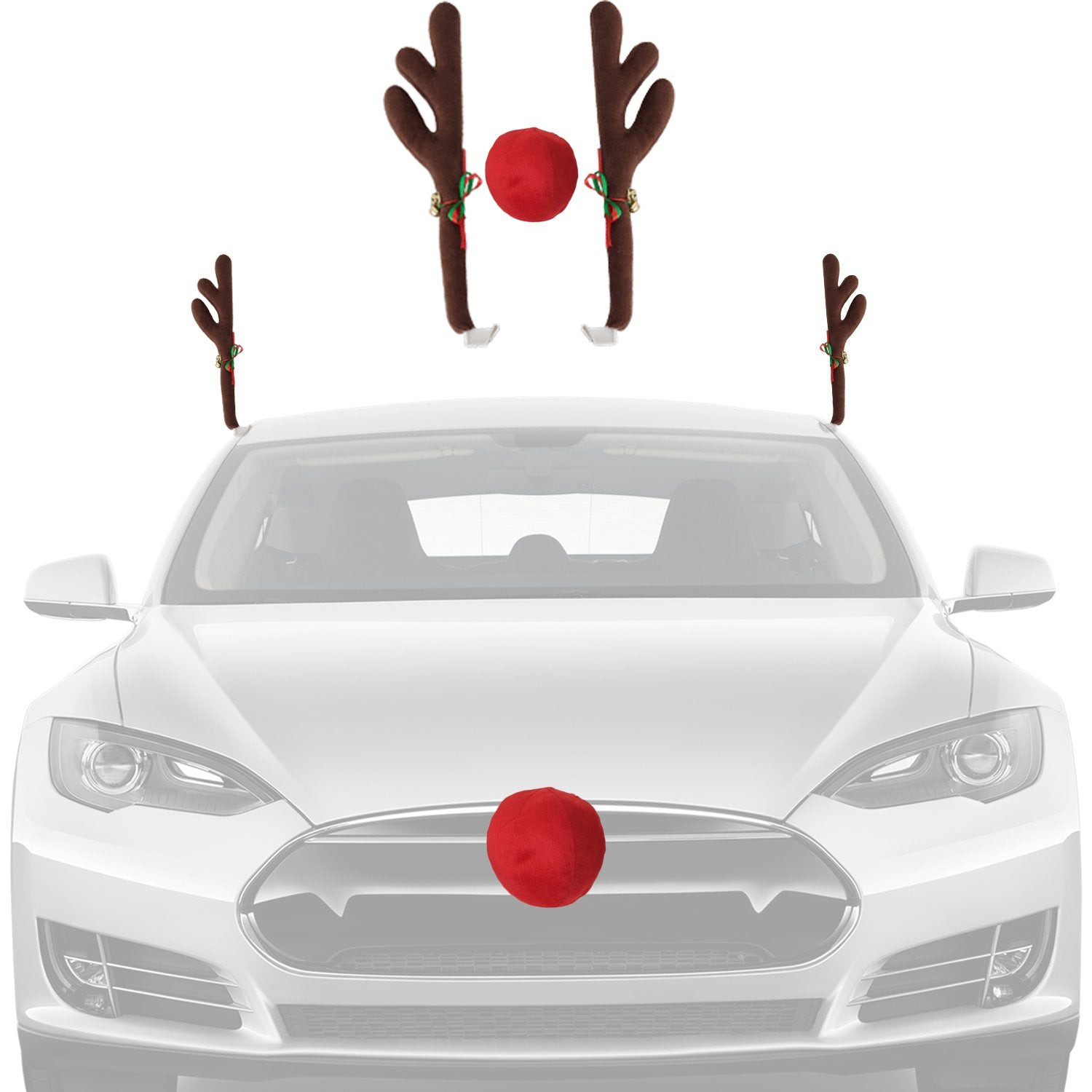 Christmas Car Decorations Reindeer Kit – Car Window Rooftop Antlers