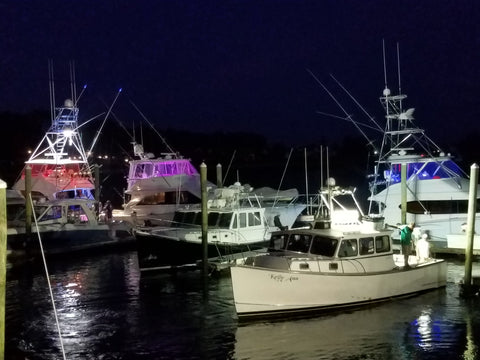 Sport Fishing Boats at the Cape Ann Marina Resort where Zombait Fishing Lures had a Demo Booth