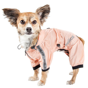 Dog Helios ® 'Torrential Shield' Waterproof Multi-Adjustable Full Bodied Pet Dog Windbreaker Raincoat X-Small Peach