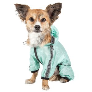 Dog Helios ® 'Torrential Shield' Waterproof Multi-Adjustable Full Bodied Pet Dog Windbreaker Raincoat X-Small Aqua Blue