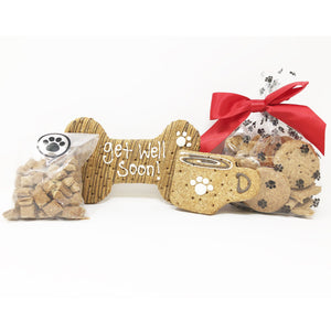 Pet Life 4 Piece 'Get Well Soon' Dog Biscuits and Treats Gift Set