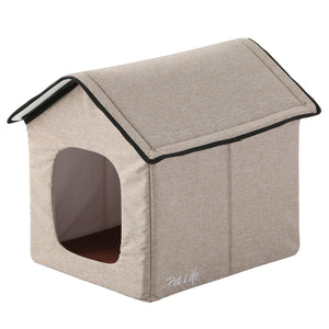 Pet Life 'Hush Puppy' Collapsible Electronic Heating and Cooling Smart Pet House Small Beige