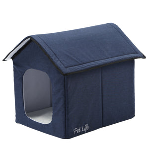Pet Life 'Hush Puppy' Collapsible Electronic Heating and Cooling Smart Pet House Small Navy