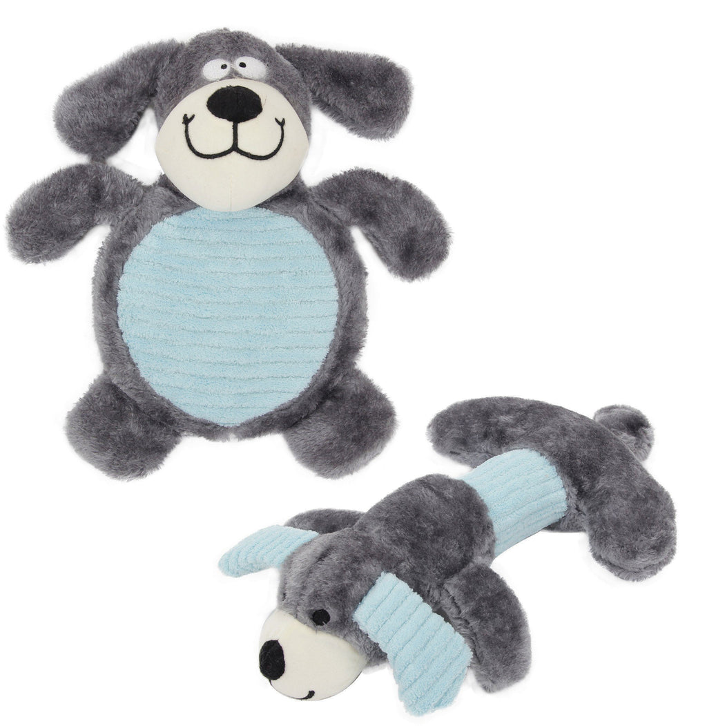 Pet Life ® 2-piece Dual Squeaker and Plush Animal Dog Toy Set Grey/Blue