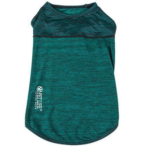 Pet Life ®  Active 'Aero-Pawlse' Heathered Quick-Dry And 4-Way Stretch-Performance Dog Tank Top T-Shirt X-Small Green