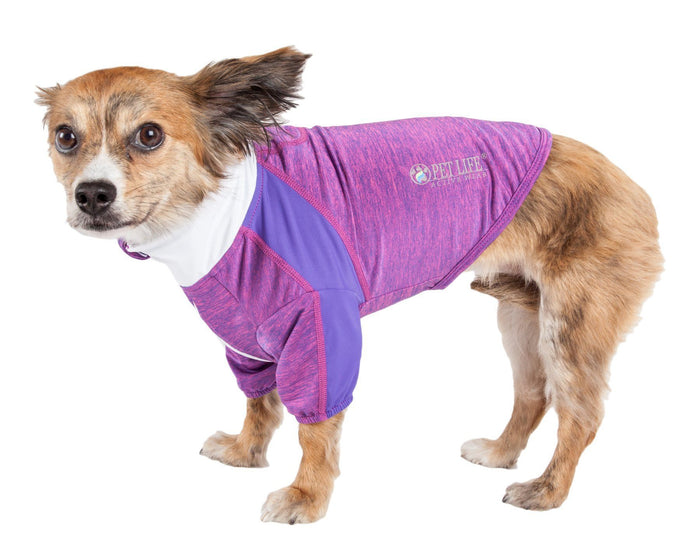 Pet Life ® Active 'Chewitt Wagassy' 4-Way-Stretch Yoga Fitness Long-Sleeve Dog T-Shirt