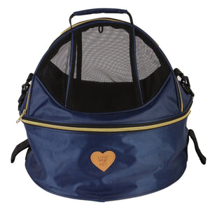 Pet Life ®  'Air-Venture' Dual-Zip Airline Approved Panoramic Circular Travel Pet Dog Carrier Navy