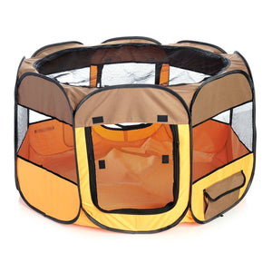 Pet Life ® 'All-Terrain' Lightweight Easy Folding Wire-Framed Collapsible Travel Pet Dog Playpen crate Medium Brown And Orange