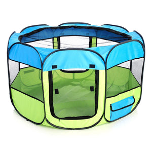 Pet Life ® 'All-Terrain' Lightweight Easy Folding Wire-Framed Collapsible Travel Pet Dog Playpen crate Medium Blue And Green