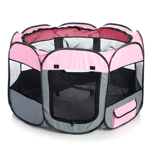 Pet Life ® 'All-Terrain' Lightweight Easy Folding Wire-Framed Collapsible Travel Pet Dog Playpen crate Medium Pink And Grey
