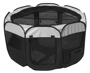 Pet Life ® 'All-Terrain' Lightweight Easy Folding Wire-Framed Collapsible Travel Pet Dog Playpen crate Medium Black And White