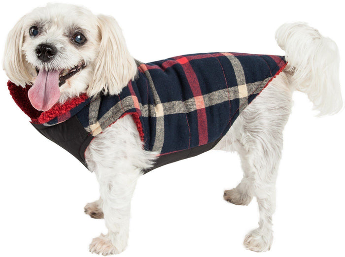 Pet Life ®  'Allegiance' Classical Insulated Plaid Fashion Dog Jacket