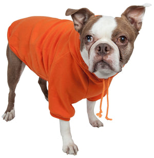 Pet Life ® 'American Classic' Fashion Plush Cotton Hooded Dog Sweater X-Small Orange