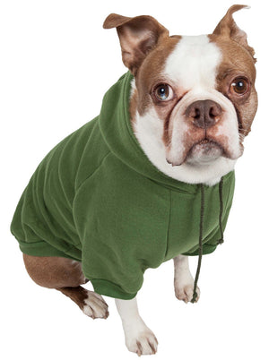 Pet Life ® 'American Classic' Fashion Plush Cotton Hooded Dog Sweater X-Small Green