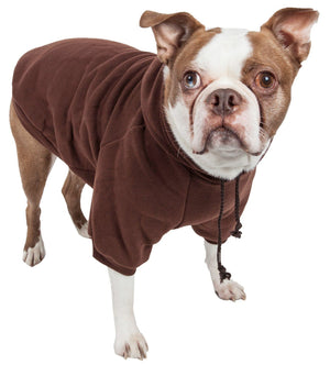 Pet Life ® 'American Classic' Fashion Plush Cotton Hooded Dog Sweater X-Small Brown