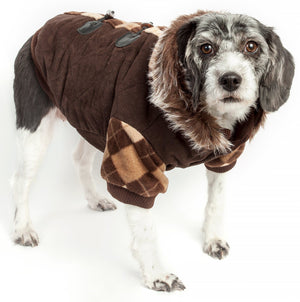 Pet Life ® 'Aygyle Style' 3M Insulated Designer Patterned Suede Dog Coat w/ Removable Hood X-Small