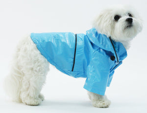 Pet Life ® 'Baby Blue' Waterproof Adjustable Dog Raincoat Jacket w/ Removable Hood