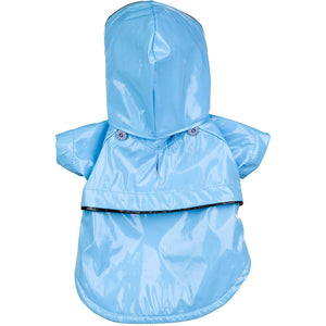 Pet Life ® 'Baby Blue' Waterproof Adjustable Dog Raincoat Jacket w/ Removable Hood X-Small