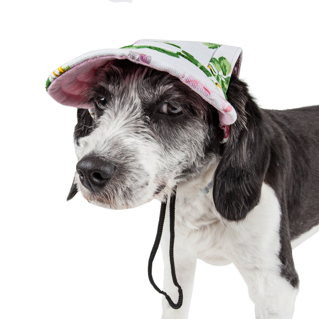 Pet Life ®  'Botanic Bark' Floral Uv Protectant Adjustable Fashion Dog Hat Cap Medium