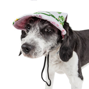 Pet Life ®  'Botanic Bark' Floral Uv Protectant Adjustable Fashion Dog Hat Cap