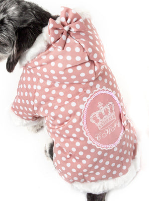 Pet Life ® 'Bow-Couture' Polka-Dot Bowed Insulated Dog Sweater Jacket