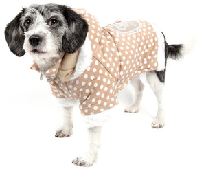 Pet Life ® 'Bow-Couture' Polka-Dot Bowed Insulated Dog Sweater Jacket X-Small Brown Polka
