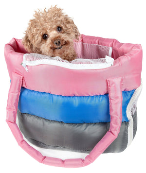 Pet Life ® 'Bubble-Poly' Tri-Colored Winter Insulated Fashion Designer Pet Dog Carrier Pink, Blue, Grey