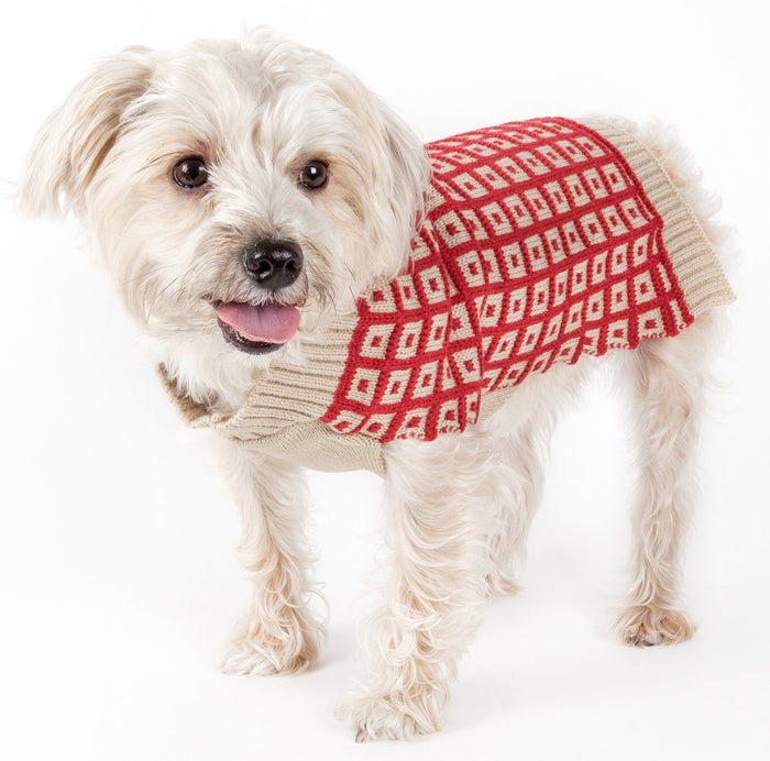 Pet Life ® 'Butterscotch' Box Weaved Heavy Cable Knitted Designer Turtle Neck Dog Sweater