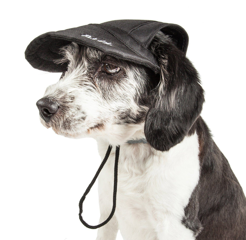 Pet Life ®  'Cap-Tivating' UV Protectant Adjustable Fashion Dog Hat Cap Medium Jet Black