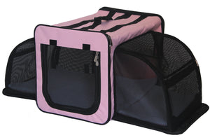 Pet Life ® 'Capacious' Dual-Sided Expandable Spacious Wire Folding Collapsible Lightweight Pet Dog Crate Carrier House X-Small Pink