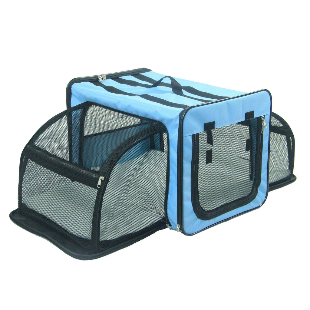 Pet Life ® 'Capacious' Dual-Sided Expandable Spacious Wire Folding Collapsible Lightweight Pet Dog Crate Carrier House X-Small Blue