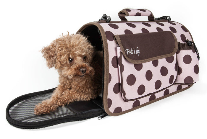Pet Life ® Casual Polka-Dotted Airline Approved Folding Zippered Collapsible Travel Pet...