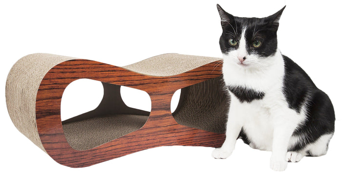 Pet Life ® 'Cat-Eyed' Contoured Designer Premium Quality Kitty Cat Scratcher Lounger wi...