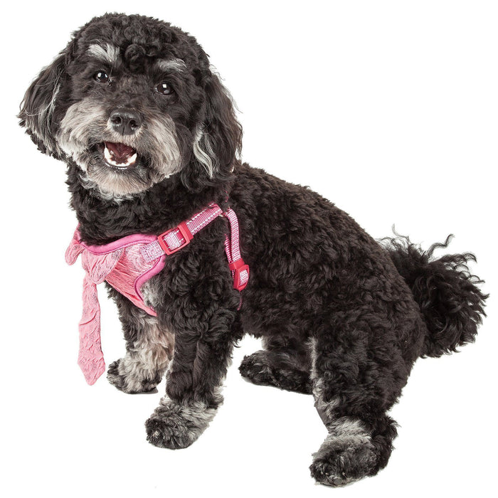 Pet Life ®  'Chichi Shaggy' Mesh Reversed Adjustable Fashion Dog Harness W/ Shaggy Neck...