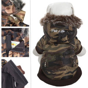 Pet Life ® Classic Metallic Fashion 3M Insulated Dog Coat Parka  w/ Removable Hood X-Small Camouflage