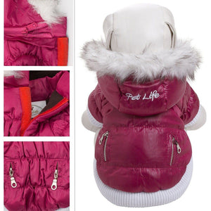 Pet Life ® Classic Metallic Fashion 3M Insulated Dog Coat Parka  w/ Removable Hood X-Small Metallic Pink