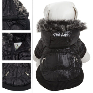 Pet Life ® Classic Metallic Fashion 3M Insulated Dog Coat Parka  w/ Removable Hood X-Small Jet Black