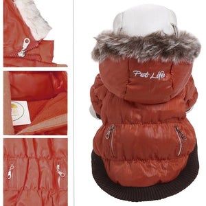 Pet Life ® Classic Metallic Fashion 3M Insulated Dog Coat Parka  w/ Removable Hood X-Small Tangering Orange