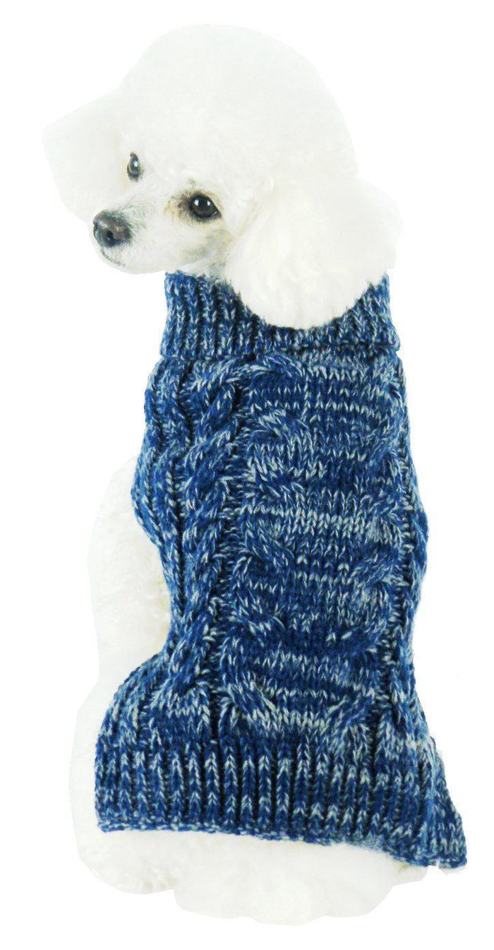 Pet Life ® Classical 'True Blue' Heavy Cable Knitted Ribbed Fashion Dog Sweater