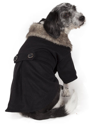 Pet Life ® 'Coast-Guard' Buttoned Fashion Faux-Fur Collared Wool Dog Coat X-Small