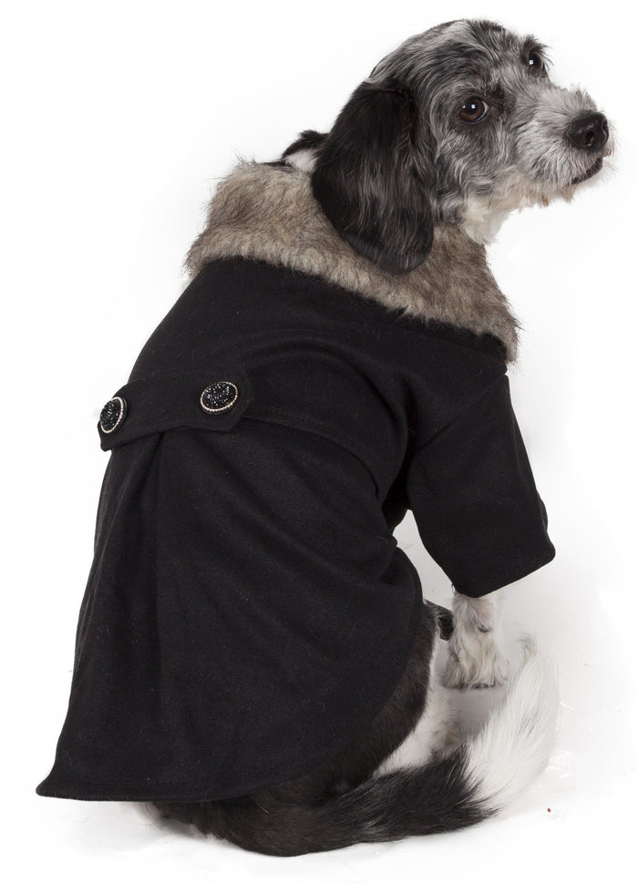 Pet Life ® 'Coast-Guard' Buttoned Fashion Faux-Fur Collared Wool Dog Coat