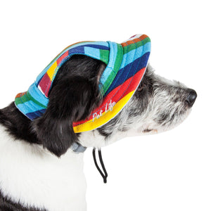 Pet Life ®  'Colorfur' UV Protectant Adjustable Fashion Canopy Brimmed Dog Hat Cap