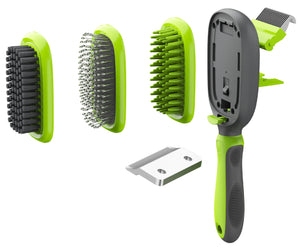 Pet Life ® 'Conversion' 5-in-1 Interchangeable Dematting and Deshedding Bristle Pin and...