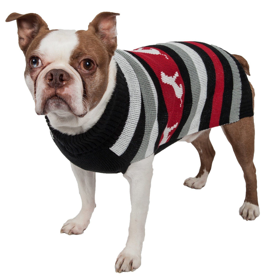 Pet Life ® Dog Patterned Fashion Striped Ribbed Turtle Neck Dog Sweater X-Small