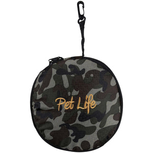 Pet Life ® 'Dual Folding' Waterproof Food and Water Collapsible Folding Travel Pet Cat Dog Bowl Feeder Waterer Fountain Camouflage