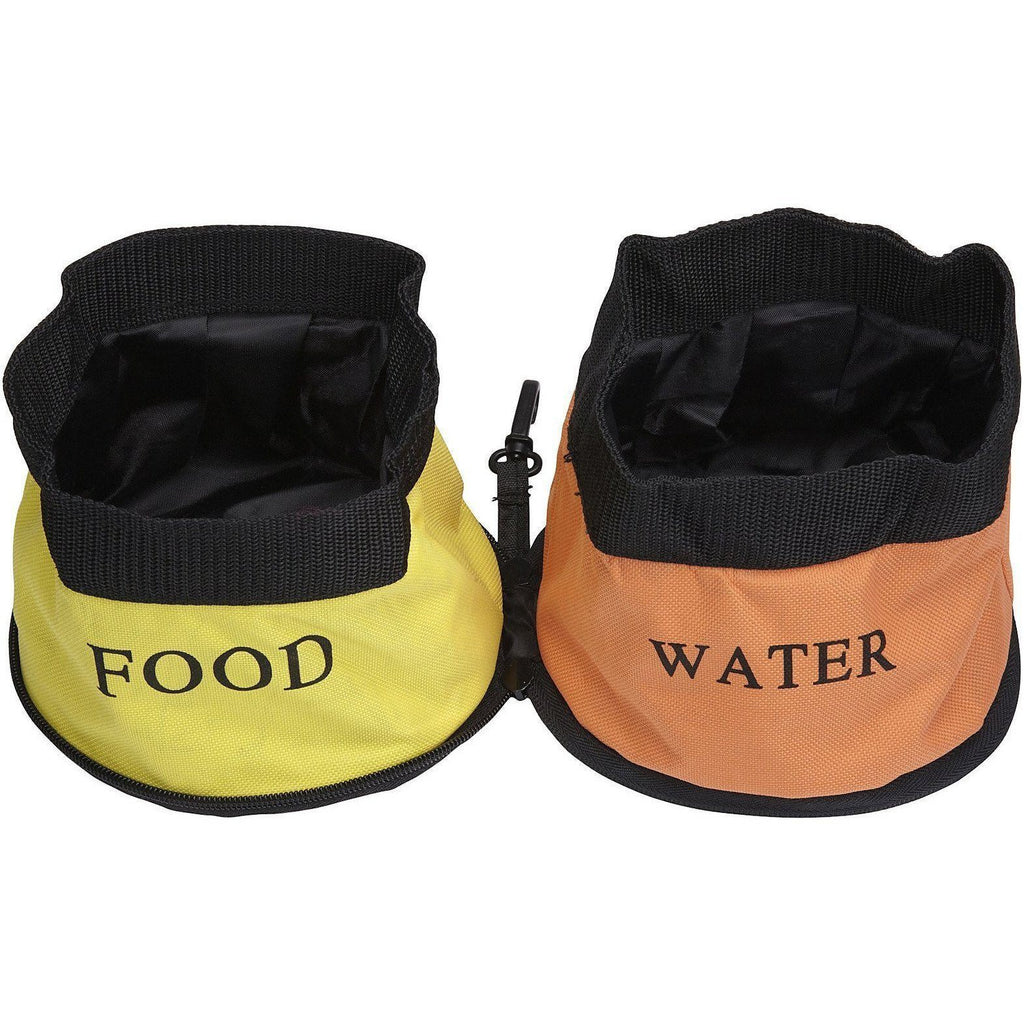 Pet Life ® 'Dual Folding' Waterproof Food and Water Collapsible Folding Travel Pet Cat Dog Bowl Feeder Waterer Fountain