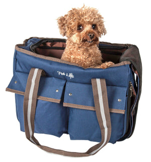 Pet Life ® Dual Snap Pocketed Fashion Designer Canvas Travel Pet Dog Carrier