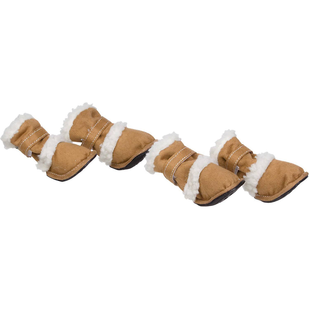 Pet Life ® 'Duggz' 3M Insulated Winter Fashion Dog Shoes Booties - Set of 4 X-Small Brown & White