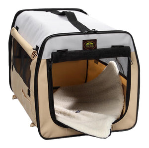 Pet Life ® 'Easy Folding' Zippered Folding Collapsible Wire Framed Lightweight Pet Dog Crate Carrier
